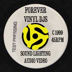 Forever Vinyl DJs logo on 45rpm record